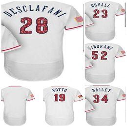 2018 Stars   Stripes Cincinnati Custom 19 Joey Votto DeSclafani Adam Duvall  Homer Bailey Tony Cingrani Baseball Jersey White Mens Women kids 179992c1f