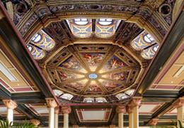 2019 tissu religieux papier peint intissé Plafond Européen octogonal magnifique peinture à l'huile religieux zénith mur fond tissu religieux pas cher