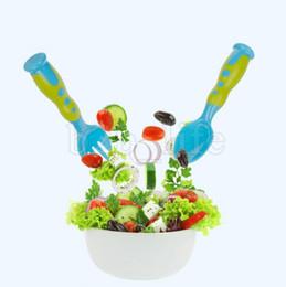 Wholesale baby utensils - 2 Pcs Set Kids Fork Spoon Suit Food Grade PP Tableware Multi Color Dot Friendly Dinnerware Tools For Baby Utensil NNA249