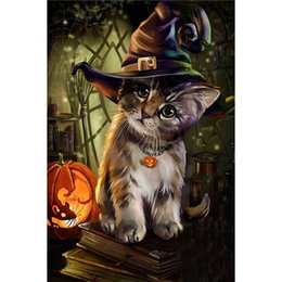 Wholesale Square Drill - Halloween Cat Mosaic Cross Stitch Lifelike Frameless Non Ironing Diamond Paintings DIY Paste Drilling Murals Top Quality 11lxa B