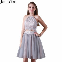 e037c1412a28 wholesale Sexy Short Grey Bridesmaid Dresses Lace Top Tulle Skirt 2 Pieces  Backless Girls Wedding Party Maid Of Honor Gowns 2018
