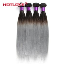 Wholesale Top Quality Remy Brazilian Hair - HOTLOVE Top Quality 3 Bundles Grey Brazilian Ombre Hair Extensions Two Tone Color 1b Grey Ombre Straight Brazilian Remy Human Hair Bundle