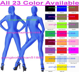 Wholesale Zentai Silver - 23 Color Lycra Spandex Suit Catsuit Costumes Unisex Bodysuit Costumes Sexy Body Suit Costumes With Two Way Bust Zipper and Crotch Zip P150