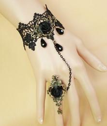 2019 antike kristallarmbänder heißes neues gotisches Bronzedame Armband-Bandring mit europäischem antikem Kornschwarz-Rosen-Kristall ist vorzüglich und elegant rabatt antike kristallarmbänder