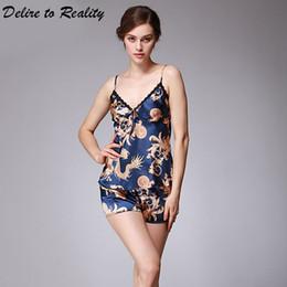vestito di notte per l'estate Sconti Sexy pigiama da donna set raso pigiama scollo a V primavera estate autunno pigiama di seta faux vestito di notte per le donne pijamas de las mujeres TZ012