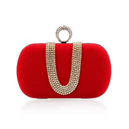 Wholesale Bling Diamond Purses - Luxury Bling Diamond Women Knuckle Finger Knot Day Clutches Fahion Ladies Wedding Party Banquet Small Purse Velour Evening Bags