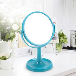 mesas laterais espelhadas atacado Desconto ANHO 7 polegadas HD Espelho Maquiagem Em Pé 1X / 3X Ampliação Desktop Beleza Cosmética Espelho De Plástico Chifre Base Princesa