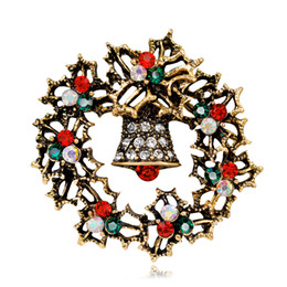 vintage christmas bells Coupons - Young Tulip 2018 Christmas Vintage Wreath Bell Pins Full Crystal Brooch Fashion Jewelry for Women and Man Dress Suit Good Gift