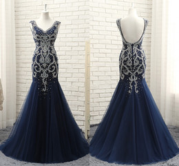 Wholesale Dance Evening - 2018 Free Shipping New High-End Atmosphere Navy Heavy Beaded Evening Dresses Halter Collar Long Tail Yarn V Dance party Dresses HY065