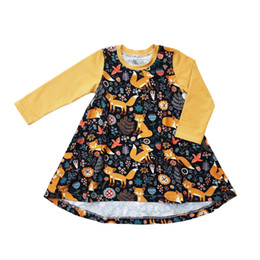 Wholesale Little Girls Outfits - Baby Girls Dress Little Foxes Birds Cartoon Flora Printed Full Slevee Yellow Spring Fall Toddler Skirts Outfits 1-6T