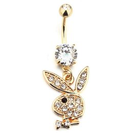 Wholesale dangle navel rings - Bunny Gold Plated Dangle Belly Button Navel Rings Body Piercing Jewelry Gem