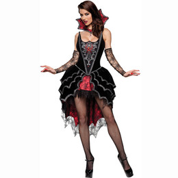 Vampiro cosplay sexy online-Hot Role Playing Gothic Halloween Costumes For Women Vampire Fancy Dress Plus Size Cosplay Sexy Costume adulto Streghe