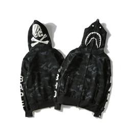 Sweat à capuche tête de mort hip hop en Ligne-Gros Hommes '; S Hip Hop Hoodies Manteau De Luxe Requin Mouth Crâne Imprimer Vestes Hommes Femmes Casual Vestes Jogger Sportswear Haut