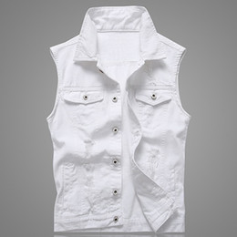 white biker jacket men Coupons - Hole Denim Waistcoat Men White Jeans Vest Solid Rock Vests For Men Fashions Summer Sleeveless Jacket 5xl Punk Biker Ripped