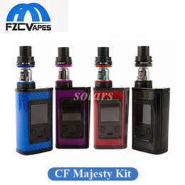 Wholesale Fiber Black - Authentic SMOK Majesty 225W Full Kit Carbon Fiber Editin with 2ml 5ml TFV8 X Baby Tank LED E Cigarette Starter Kit 100% Original