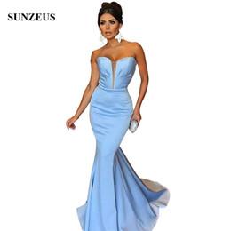Canada Mermaid Sky Blue Long Robes De Soirée Formelles Sweetheart Bretelles Simples Robes De Soirée En Satin Femmes robe de soirée longue Offre