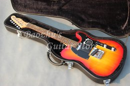 Wholesale Guitar String Case - New arrive cherry burst F electric guitar with hard case Telecaster