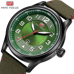 nylon armbanduhren uhren Rabatt MINIFOKUS Casual Nylon Band Quarz Armbanduhr Mens Army Military Quarzwerke Uhren Grün Armbanduhr für Männer MF0166G