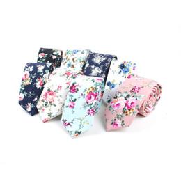 Wholesale wool woven tie - Skinny Ties Men's Cotton Printed Floral Necktie,Wedding,groomsman,Party