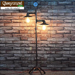 Wholesale Used Head Lights - 2016 2 Heads Nordic Industrial Vintage Creative Floor Lamp Bedroom Restaurant Bar Decoration Water Pipe Light Use E26 E27