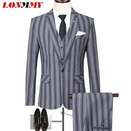 05a7b5d3a96 LONMMY Wedding suits for mens suits with Pants+Vest+Jacket 3 pieces sets  Tuxedo men blazer masculino slim fit mens blazer jacket mens skinny suit  pants ...