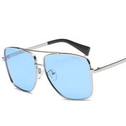 Wholesale Best selling Square Polarized Sunglasses Men s Retro Glasses UV400 Fashion Sunglasses Double Nose Beam Metal Frame Glasses NX