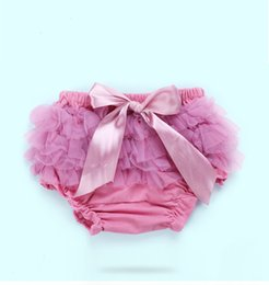 Wholesale Baby Diaper Cover Tutu - Baby Cotton Ruffle Bow Shorts Cute Baby Lace bloomers Newborn Flower tutu diaper cover Toddler 1th birthday photography underwear Pants