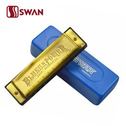 Wholesale Swan Mouth Harmonica - Swan 1020H-G Bronze 10-Hole Blues Harmonica Diatonic Harmonica 10-Holes Harp Mouth Organ Instrument Key of C