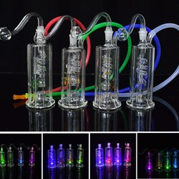 """Wholesale hose lead - Spiral Recycler Dab Rig Led Light Glass Bongs Water Pipes 10mm Joint Water Bong 4.5"""" inch Mini Oil Rig with Banger and 20"""" Hose Glowing Rig"""