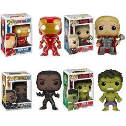 Wholesale avengers thor - Funko Pop Marvel Comics Avengers Iron Man Thor Black Panther Hulk Vinyl Action Figure with Box
