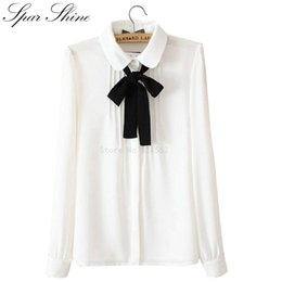 Wholesale White Peter Pan Blouse - Wholesale 2016 New Fashion Blusas Y Camisas Mujer Peter Pan White Long-Sleeved Shirt Ladies Tops Women Chiffon Blouse
