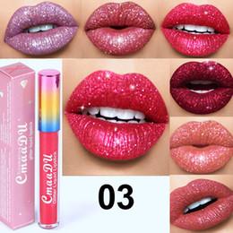 Wholesale flash flip - Cmaadu Glitter Flip Lip Gloss Velvet Matte Lip Tint 6 Colors Waterproof Long Lasting Diamond Flash Shimmer Liquid Lipstick DHL 3001316