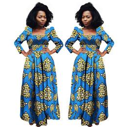 tecido bazin africano Desconto 2018 Vestidos Africanos Para As Mulheres Bazin Riche Dashiki Vestidos De Tecido África Impressão De Cera Moda Estilo Plus Size Roupas Para As Mulheres