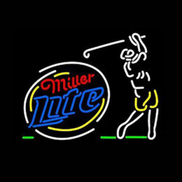 club di altalene Sconti Miller Lite Sequencing Swinging Golfer Neon Sign Beer Bar fatto a mano Real Glass Tube Pubblicità Club PUB Game Display Neon Signs 24