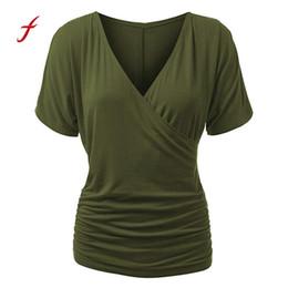 Задрапированная передняя рубашка онлайн-Feitong лето женщины топы мода повседневная женщины футболка с коротким рукавом V шеи Wrap фронт драпировка топ camisetas mujer / PY