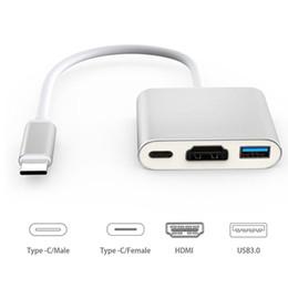 adaptador usb hembra hdmi macho Rebajas Nuevo tipo C USB C a HDMI USB 3.1 Tipo c Adaptador multifunción Cable Macho a hembra Cargador Convertidor AV digital Multiport
