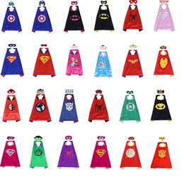 Wholesale children costumes - Halloween Satin Cape Felt Mask for Kids 2PCS SET Double Layer Superhero Cape and Mask Set Superhero Costume Kids Party Gifts 70*70CM