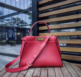 Wholesale Brown Italian Leather Handbag - 2018 new High quality top qualith Italian brand classic 34cm real leather tote bag genuine leather peekaboo women handbags shoulder bags
