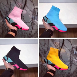 Wholesale Colorful Slips - New Designer Colorful Sole High Quality Speed Trainer Shoes Man Woman Sports Shoes Stretch-Knit High Top Casual Sneaker Pink Blue Size 35-44