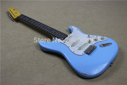 Wholesale Relic Guitars - Hot Sale handmade st relic guitar,navy blue color ebony fingerboard,master build 22 frets st guitar,high quality free shipping