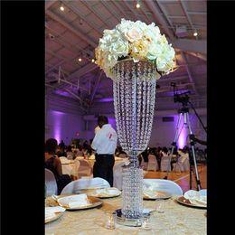 "Wholesale Wedding Garland Acrylic Crystal - 32"" Tall Acrylic Crystal Garland Chandelier Wedding Centerpiece - Silver Or Gold"