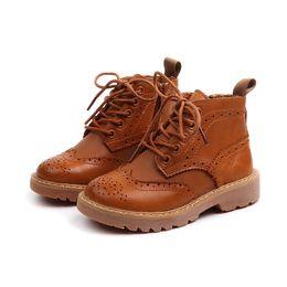 2018 осень и зима детская обувь кожаная ретро британский ветер детские ботинки Martin корейская версия ботинок мальчиков сапоги девочек от