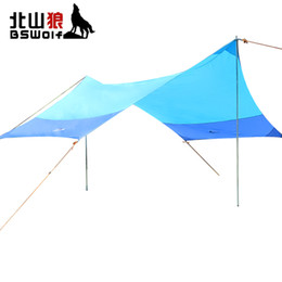 Wholesale Outdoor Shelter Canopy - BSWolf Outdoor Tent Sun Shelter Oxford Cloth Beach Sun Shade Awning 4.2*3.5m Barbecue Camping Canopy Rainproof Parking Shed