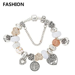 Wholesale Christmas Tree Dropshipping - Dropshipping Sterling Silver Charm Bangle Tree of life Pendant Bracelets Fit Pandora Beads Jewelry Bracelet for Women with Gift bags