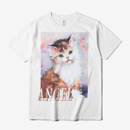 Argentina SS18 Heron Preston Angel T-shirt Cute Cat Impreso manga corta Tee Hombres Mujeres 100% algodón Casual Camisas Blanco Negro DFYH0301 supplier cute animal tee shirts Suministro