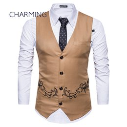 Wholesale mens double breasted vests - Khaki vest mens Fashion embroidery design Sleeveless vests mens tan vests Men's V-neck vest vest mens