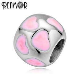 Corazón rosa luces online-REAMOR 316l Acero Inoxidable Rosa Azul Claro Amor Corazón Spacer Beads Fit Mujeres Europeas Pulseras Joyería de DIY Que Hace los Resultados