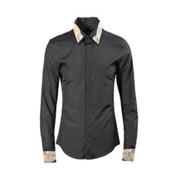 Wholesale Hand Embroidered Shirts - 2018 High Quality Collar Embroidered Men Shirts Casual Shirts Hand-painted Fashion Long Sleeve Cotton Plus Size 3XL 4XL