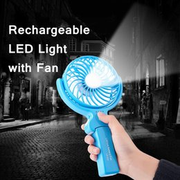 Wholesale Cool Modes - Edison2011 2018 New Mini USB Rechargeable LED Light with Fan Handheld Portable Led Light with Rechargeable Fan Cooler 4 Mode