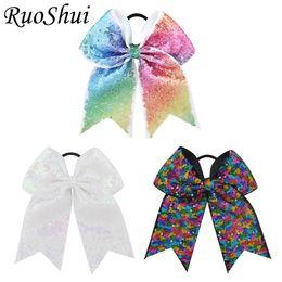 Wholesale Ponytail Holders For Bows - 3pcs 7Inch Sequin Cheerleading Hairbow Glitter Grosgrain Ribbon Bow Elastic Band Ponytail Hair Holder Cheer Bows For Girls Women